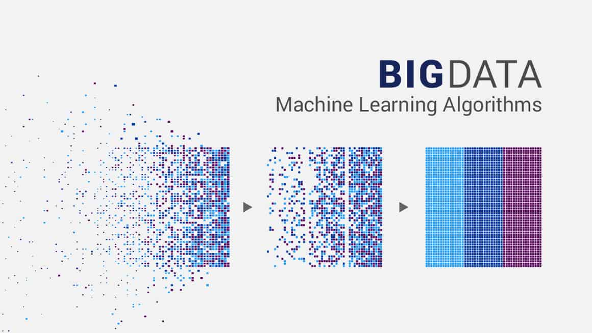 Header Graphic.  Graphic illusration of big data machine learning algorithims showing a representation of data points being organized.